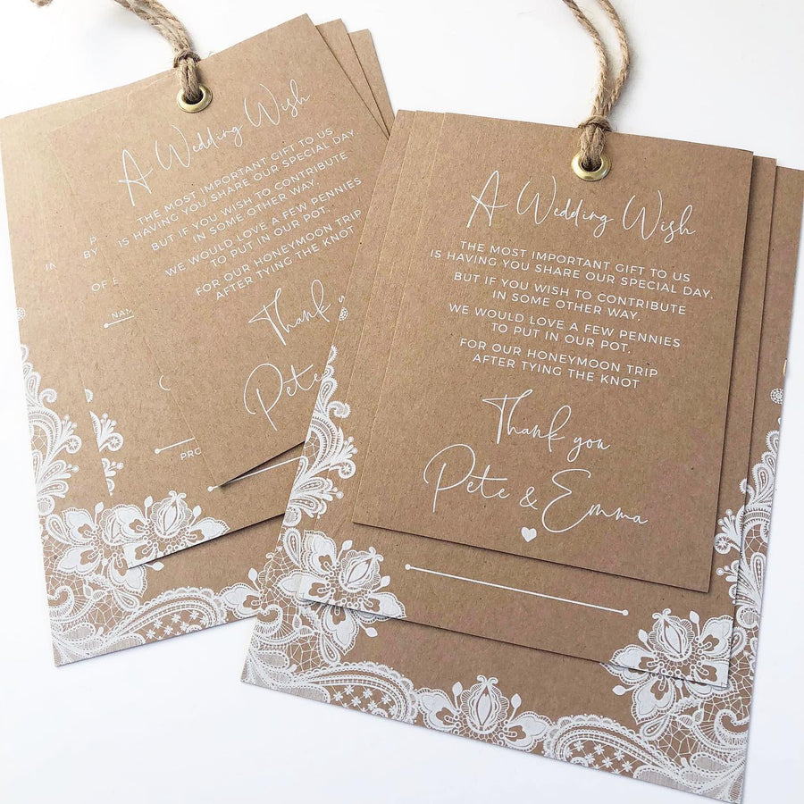 Elegant Floral Lace in White Ink on Kraft Handwritten Calligraphy Wedding Invitations