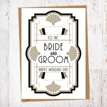 Art Deco Black and Gold, Bride and Groom Wedding Greetings Card