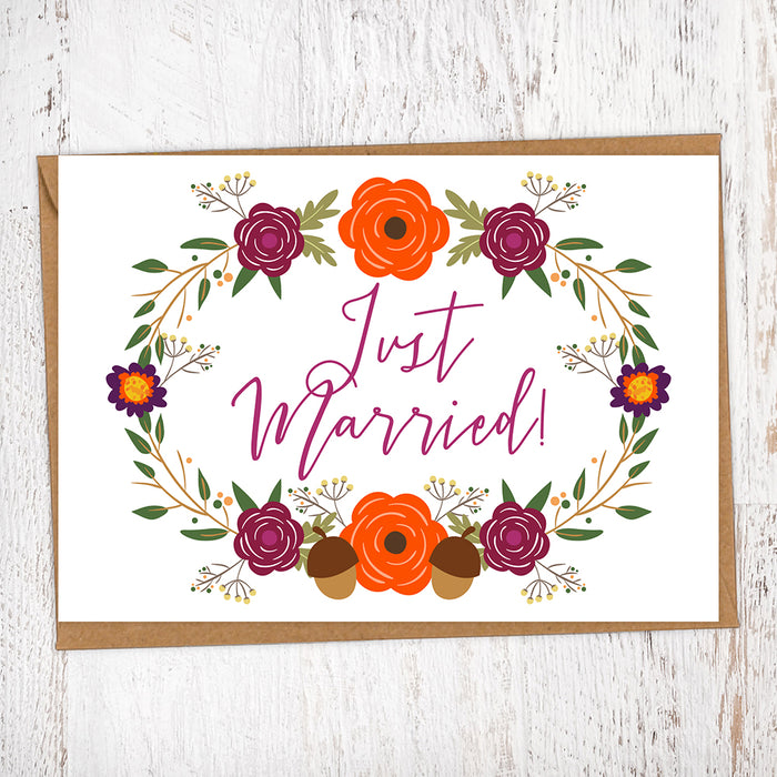 Autumnal Flowers & Foliage Just Married Wedding Greetings Card