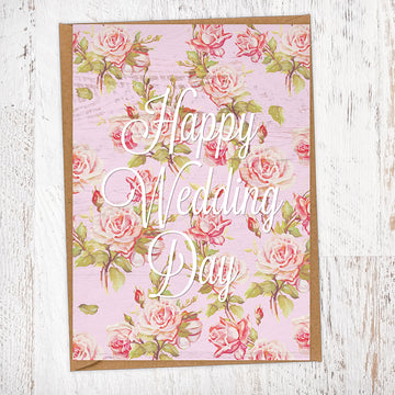 Pink Roses & Wood Rustic Happy Wedding Day Wedding Greetings Card