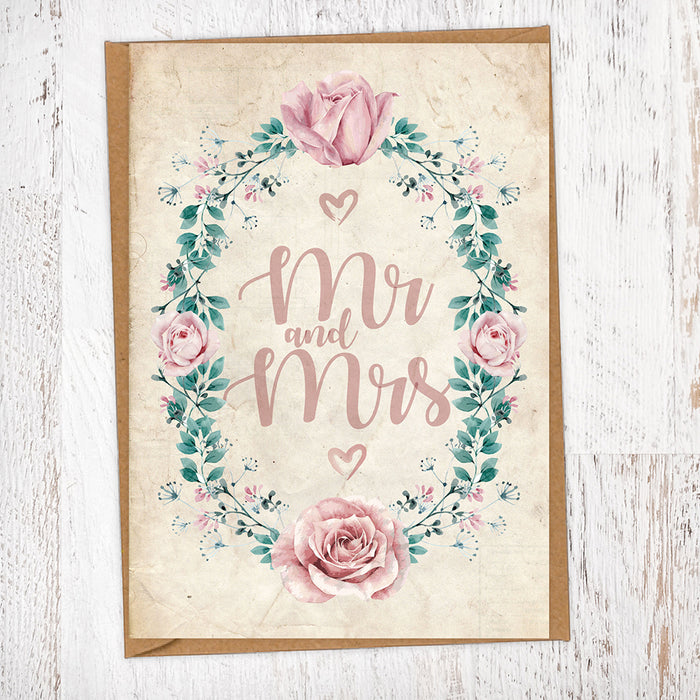 Rose & Foliage Border Mr & Mrs Wedding Greetings Card