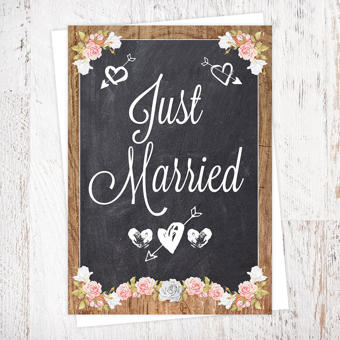 Wood & Chalkboard Floral Border Just Married Wedding Greetings Card