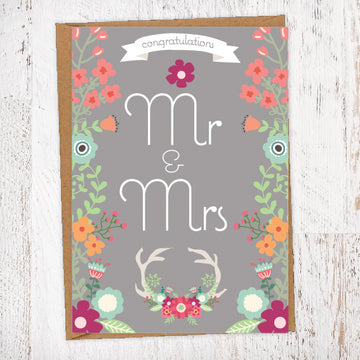 Antlers And Flowers Congratulations Mr & Mr, Mr & Mr, Mrs & Mrs Wedding Greetings Card