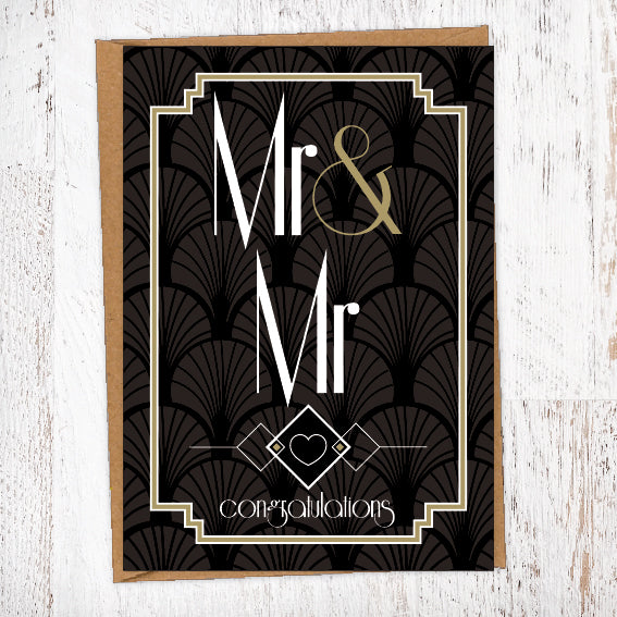Classy Black Art Deco Wallpaper Mr & Mrs Wedding Greetings Card