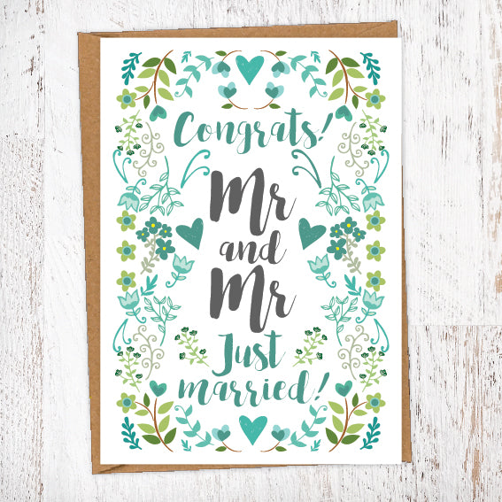 Green Foliage Flowers & Hearts Wedding Greetings Card