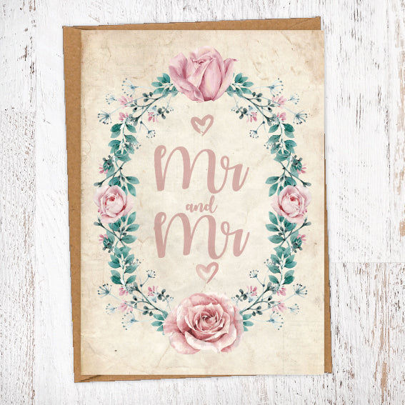 Peonies Roses & Foliage Border Mr & Mrs, Mr & Mr, Mrs & Mrs Wedding Greetings Card