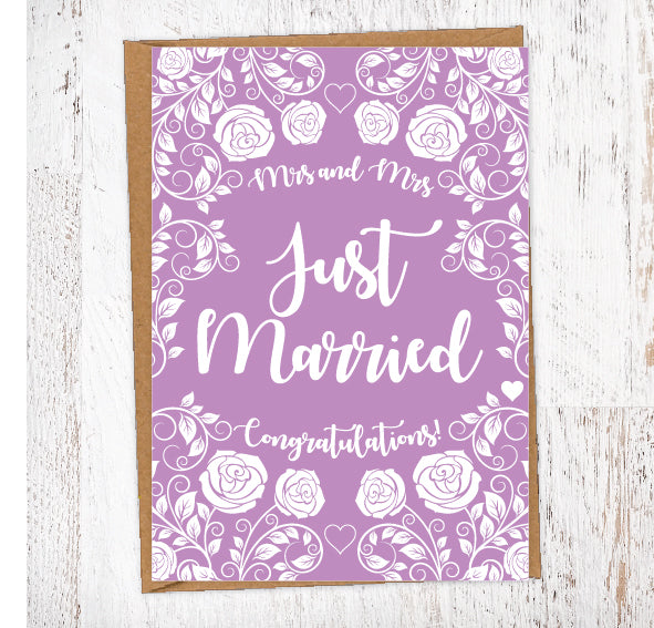 Rose Bush & Hearts Purple Floral Just Married Wedding Greetings Card