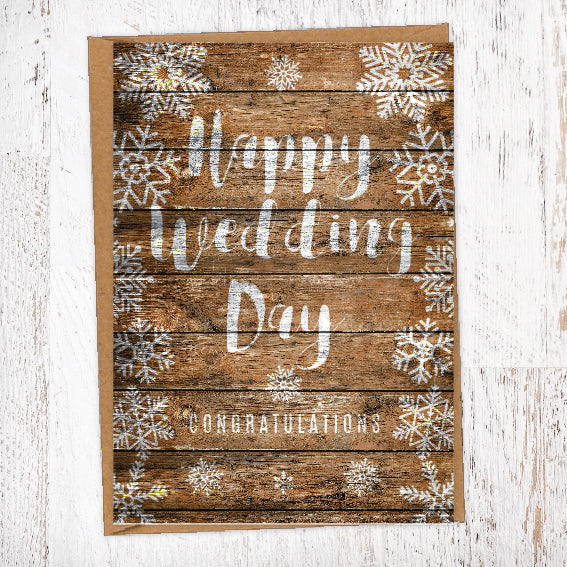 Winter Snowflake On Wood Background Happy Wedding Day Congratulations Wedding Greetings Card
