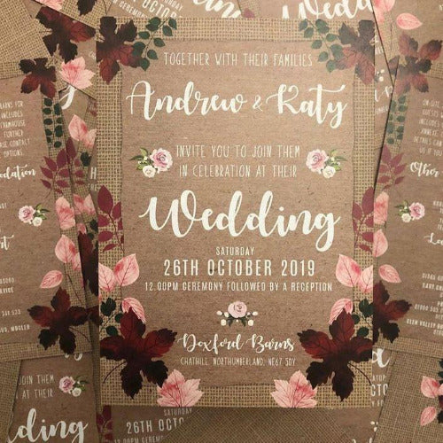 HESSIAN AUTUMN LEAVES INVITATION