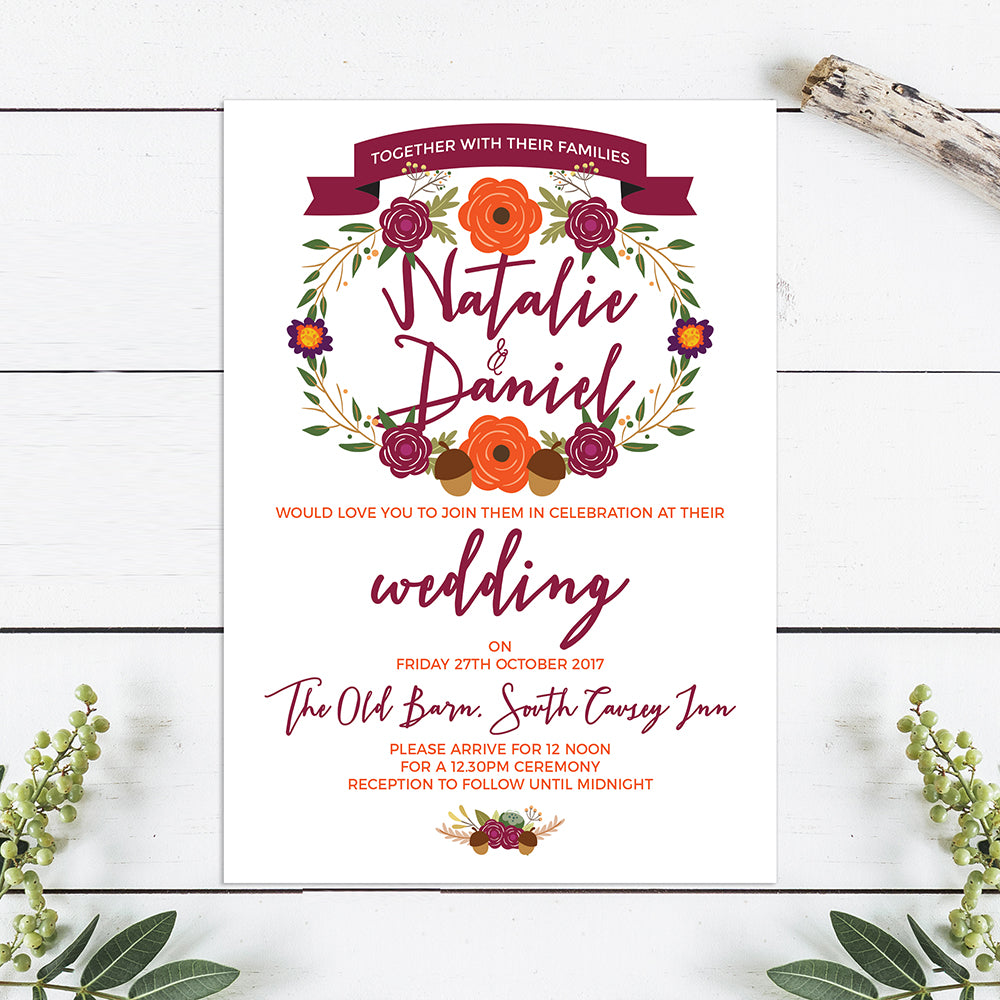 Autumnal Wedding Invitations – Above The Clouds UK