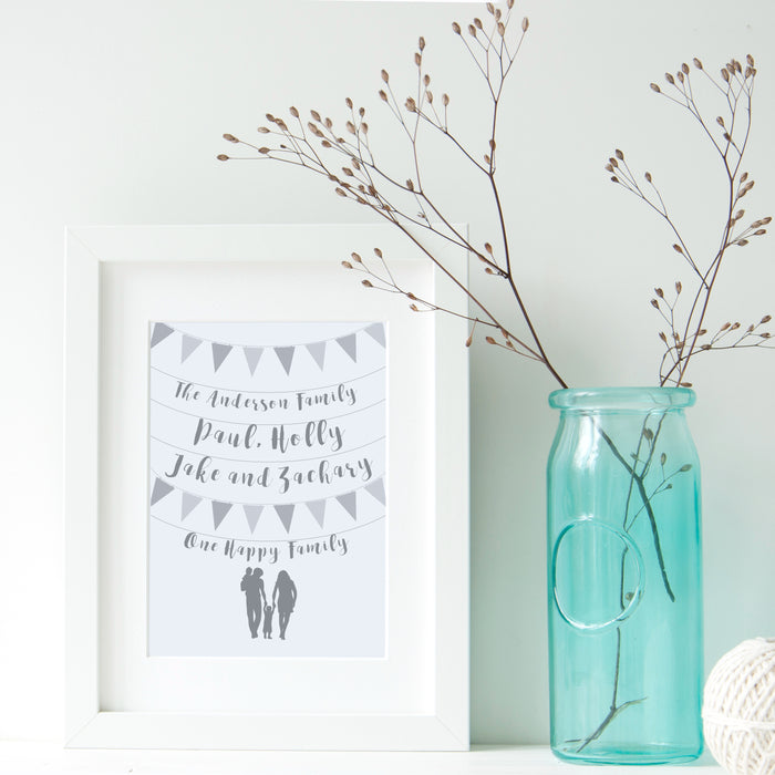 Bunting and Silhouette Family Print