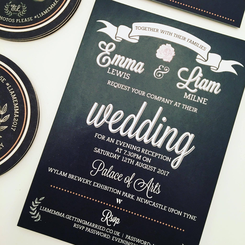 The Brewery Chalkboard Wedding Invitations Above The Clouds Uk