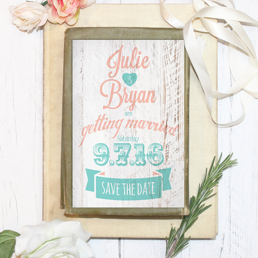 Coral and Seafoam Green Carnival Style Save the Date