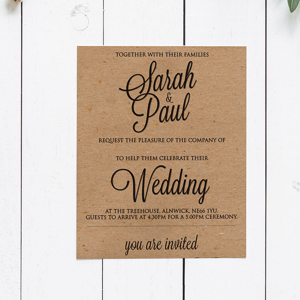 Elegant Textured Recycled Kraft Handwritten Calligraphy Style Wedding Invitations