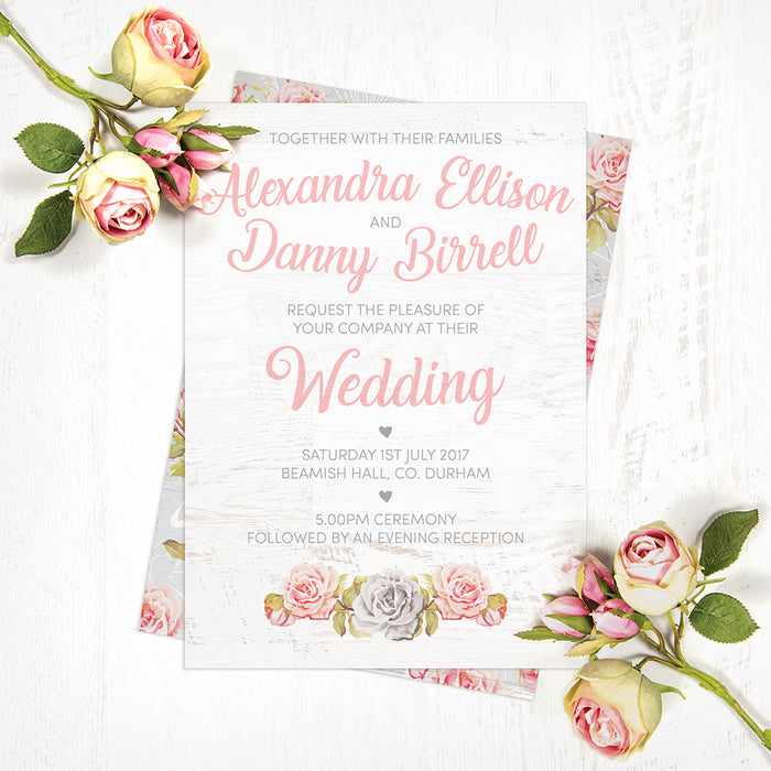 Roses & White Wood Wedding Invites