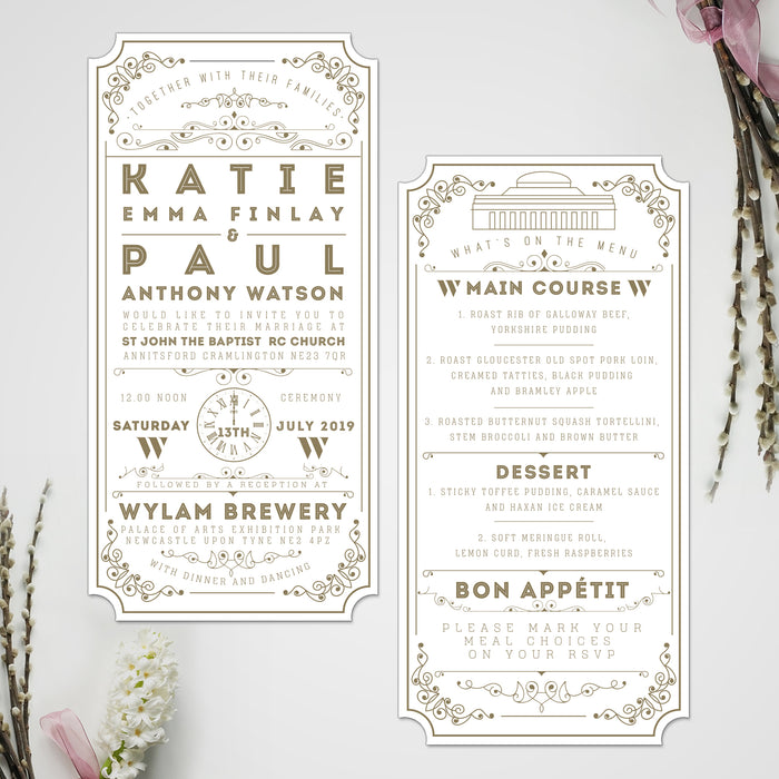 GOLDEN TICKET WEDDING INVITATIONS