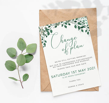 Postponed, delay the date wedding invitation