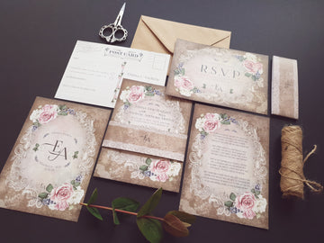 HESSIAN RUSTIC FLORAL WEDDING INVITATIONS
