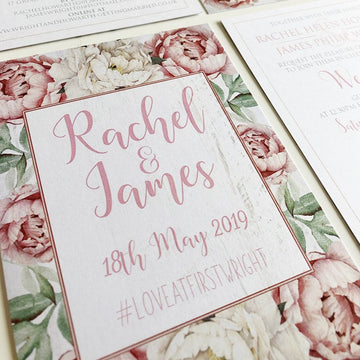 Dusky Pink and White Peonies on White Wood Wedding Invitations