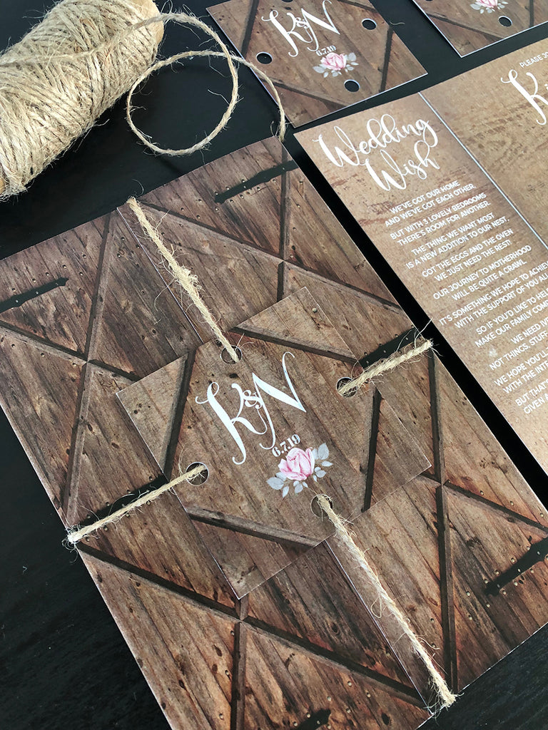 Rustic Dark Barn Door Gate Fold Wedding Invitation
