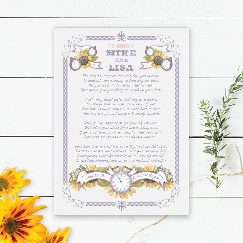 Sunflower and Time Wedding Invitations