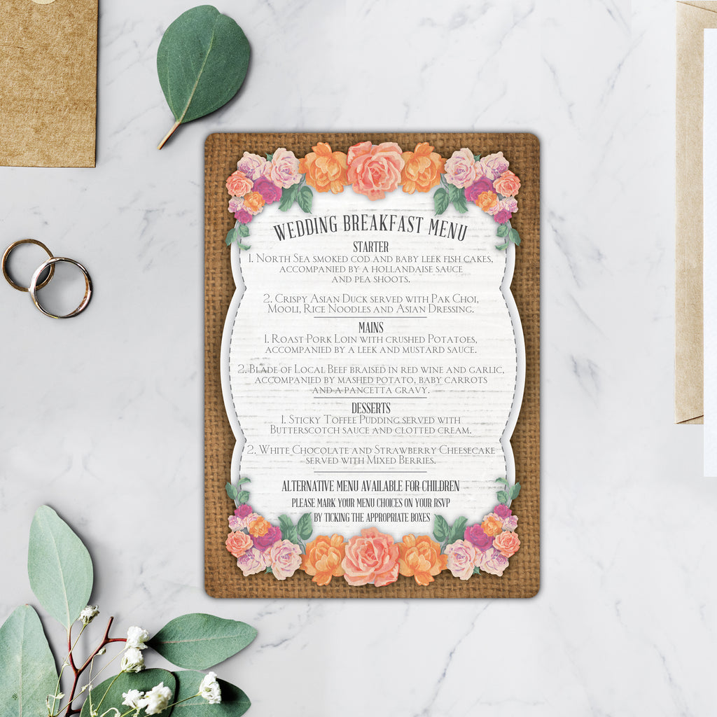 Floral and Burlap Wedding Invitations