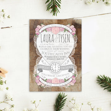 Floral Wood and Lace Wedding Invitations