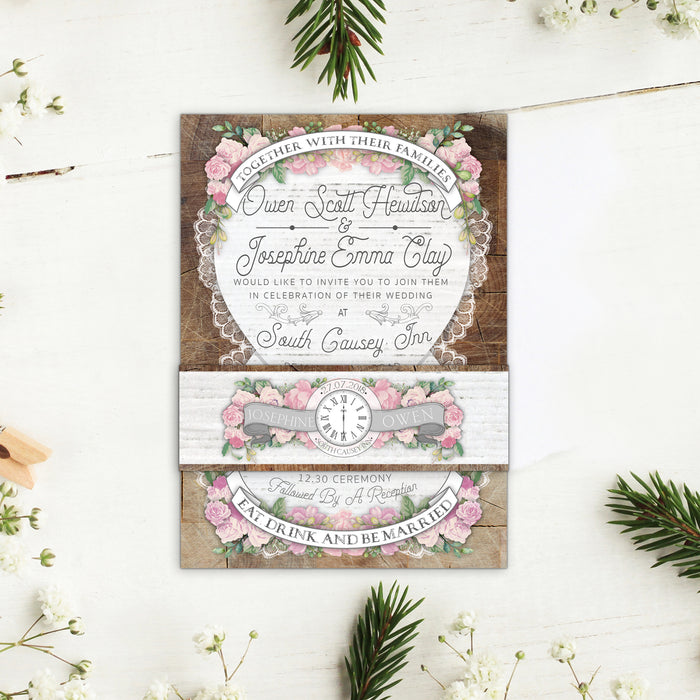 FLORAL RUSTIC WOOD WEDDING INVITATIONS