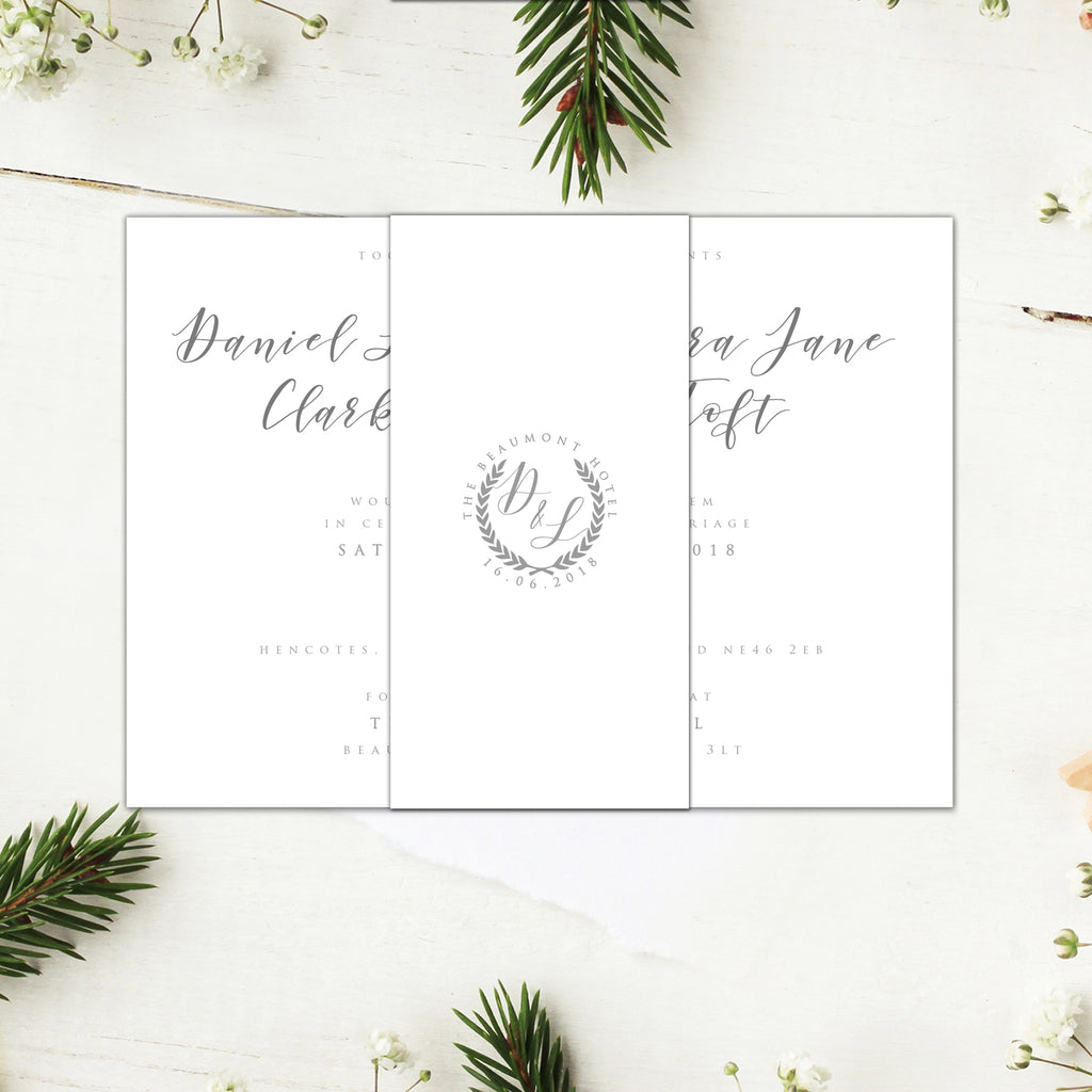 CLASSIC WHITE AND GREY WEDDING INVITATIONS