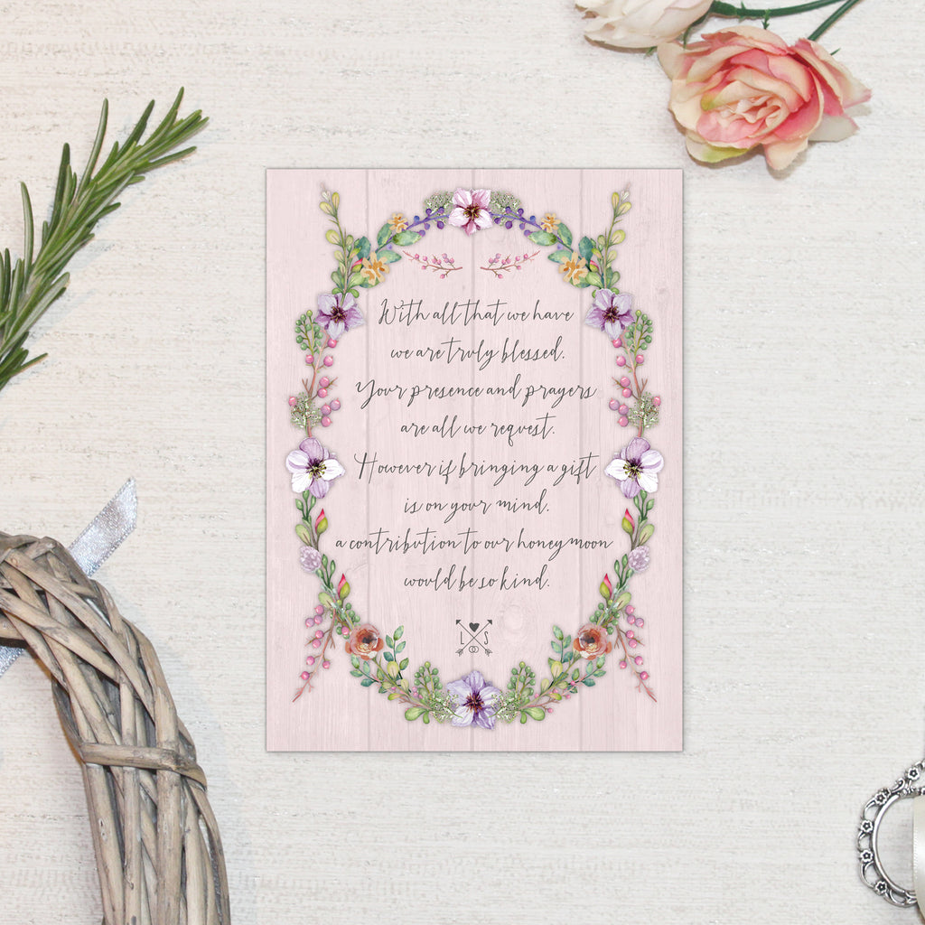 WILD FLORAL WREATH WEDDING INVITATIONS