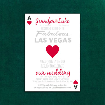Las Vegas Themed Playing Card Wedding Party Invite
