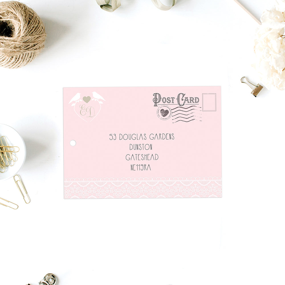 Love Birds and Lace Wedding Invitations