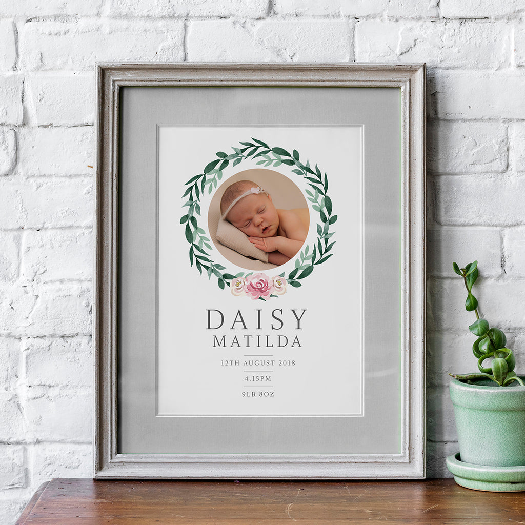 Green Wreath and Pink or Blue Flowers New Born Baby Print