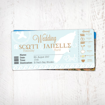 OPA! Greek Themed Boarding Pass Theme Wedding Invitation with Order of the Day