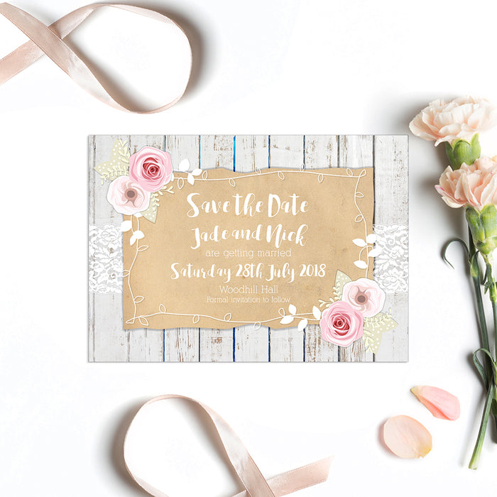 Peony, Parchment, Lace & Wood Save The Date