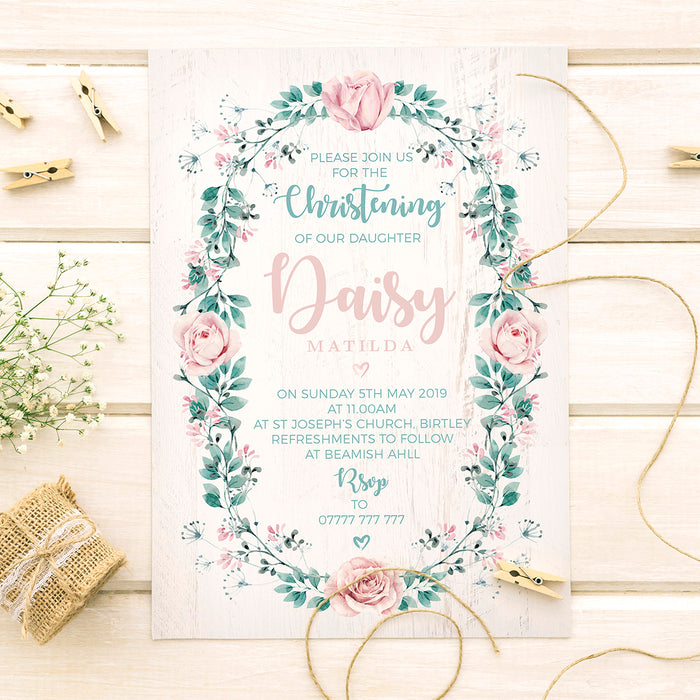 Pink Roses and Foliage on White Wood Background Personalised Christening Invites
