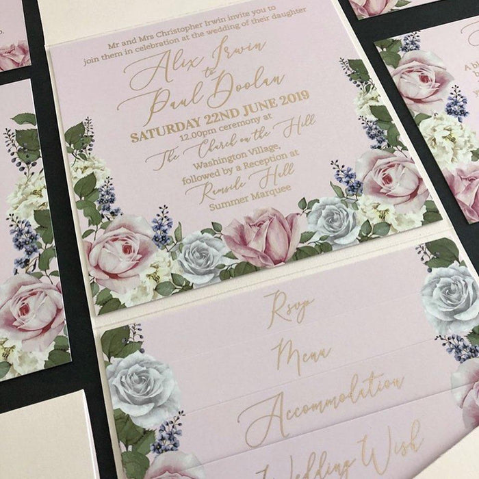 gold foil pocket fold wedding invitation