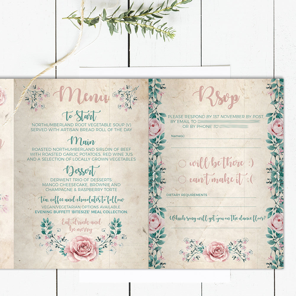 Rustic Blush Pink Peonie and Green Foliage Concertina Folded Wedding Invitation Concertina Invite