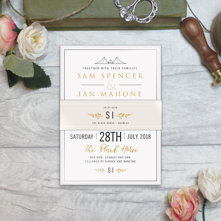BLACK AND GOLD WEDDING INVITATIONS