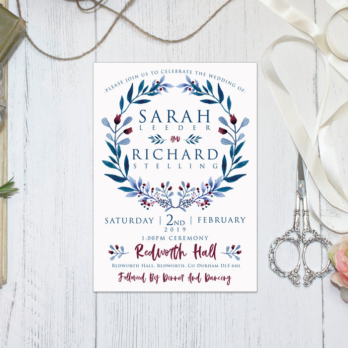OFF WHITE RED AND BLUE WREATH WEDDING INVITATIONS