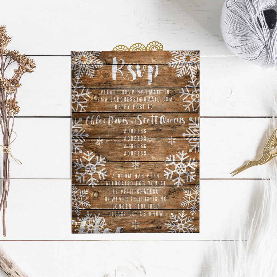Snow flake on Rustic Wood Background WInter Wedding Invitations