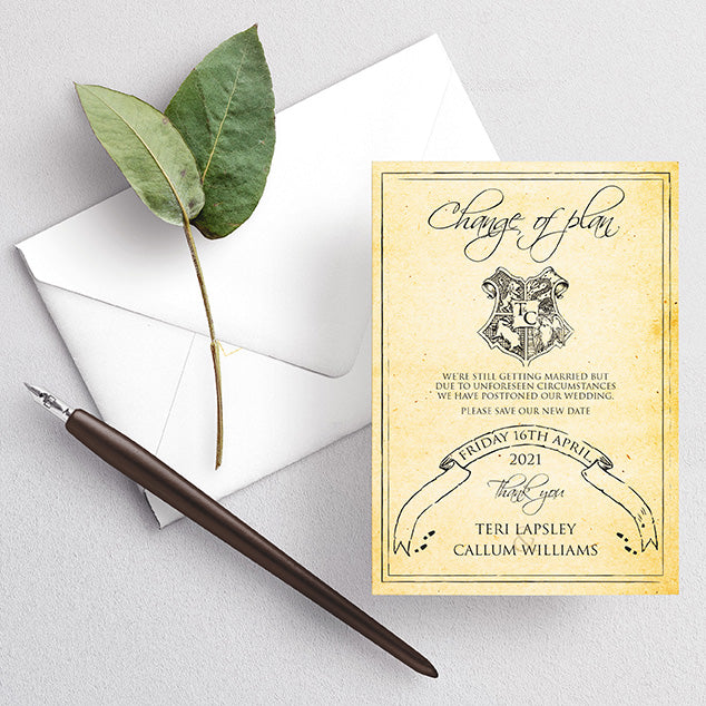 Postponed, delay the date wedding invitation. Harry potter