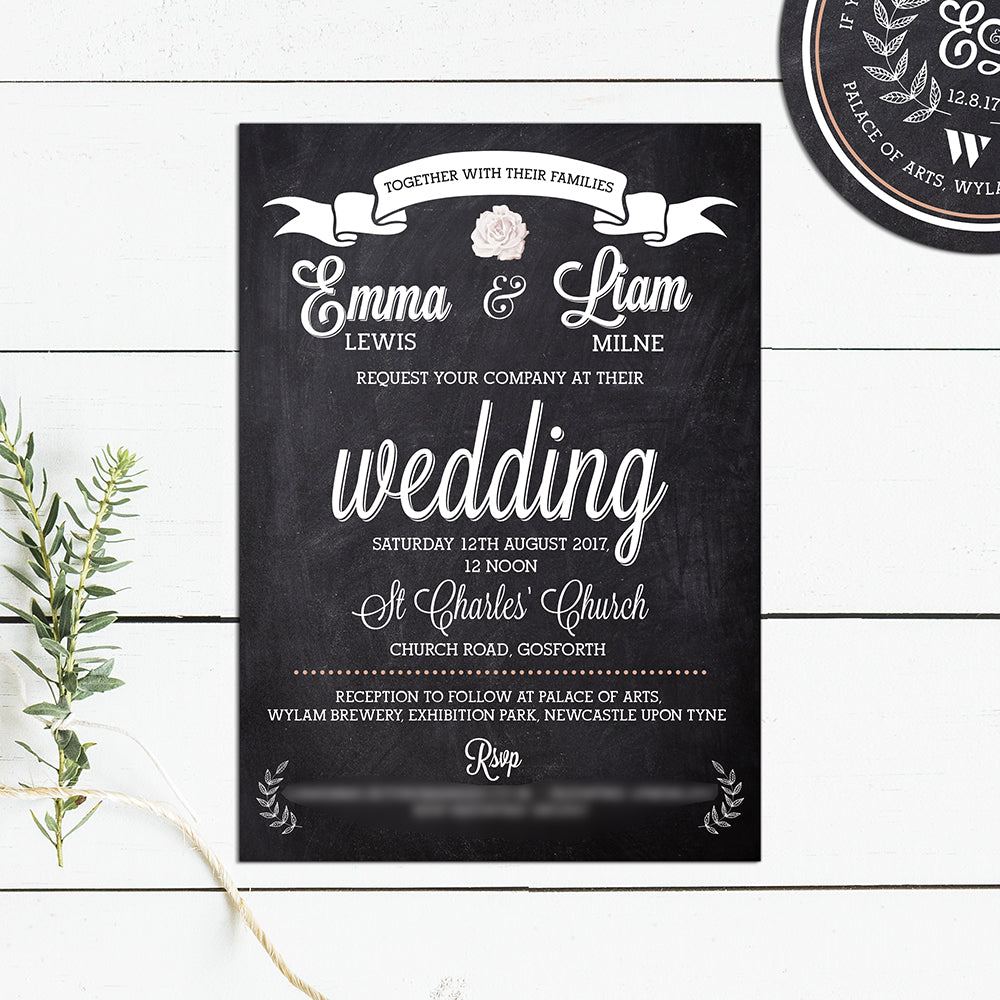 The Brewery Chalkboard Wedding Invitations – Above The Clouds UK