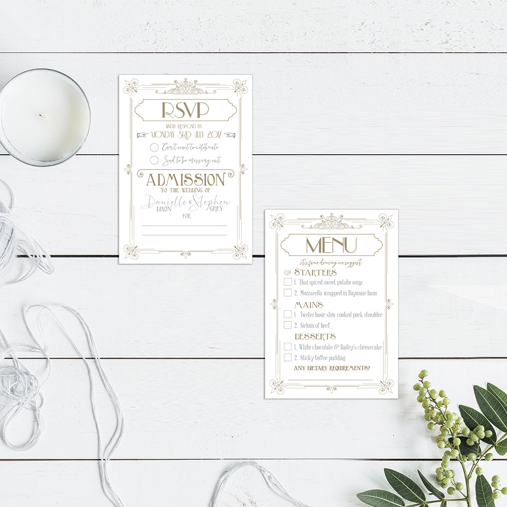 Vintage Cinema White and Grey Be Our Guest Wedding Invitations