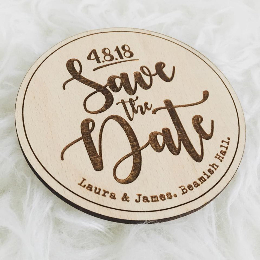 Wooden Plaque Engraved Save The Date
