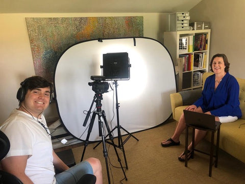 Interview set up with lighting