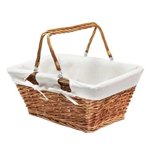 JVL Buff Split Willow Shopping Storage Basket with Cream Lining