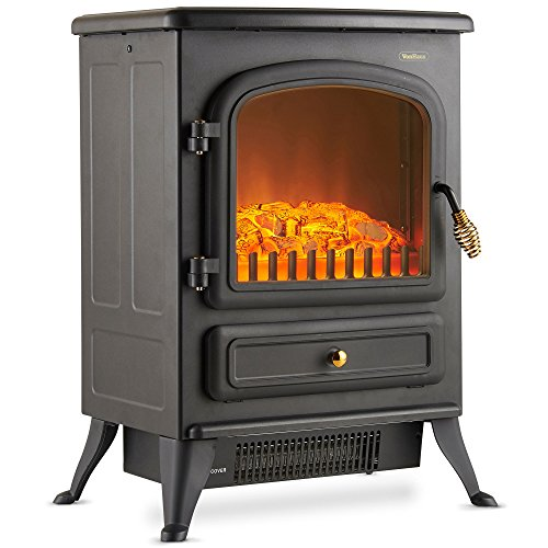 VonHaus Electric Fireplace Stove Heater with Flame Effect