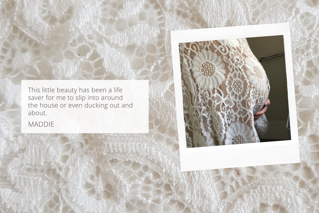 lace outfit for maternity boudoir