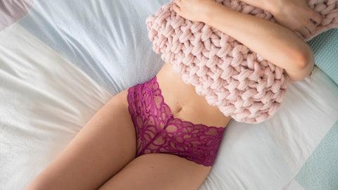 pink lace french knickers by lazy girl lingerie